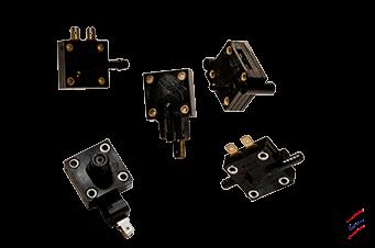 Fotocollage der Druckschalter 1148 Serie - Designflex - HJK Sensoren & Systeme